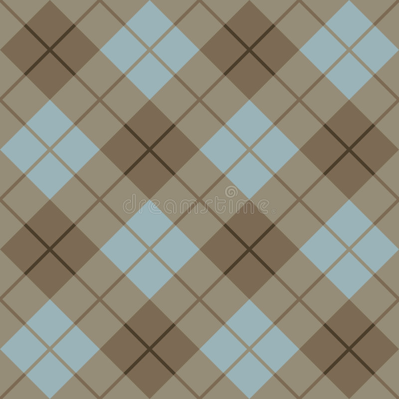 45 Degree Plaid Pattern_Brown-Blue vector illustration