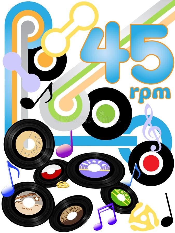 45 muzyczna oldies rejestrów skały rolka rpm royalty ilustracja