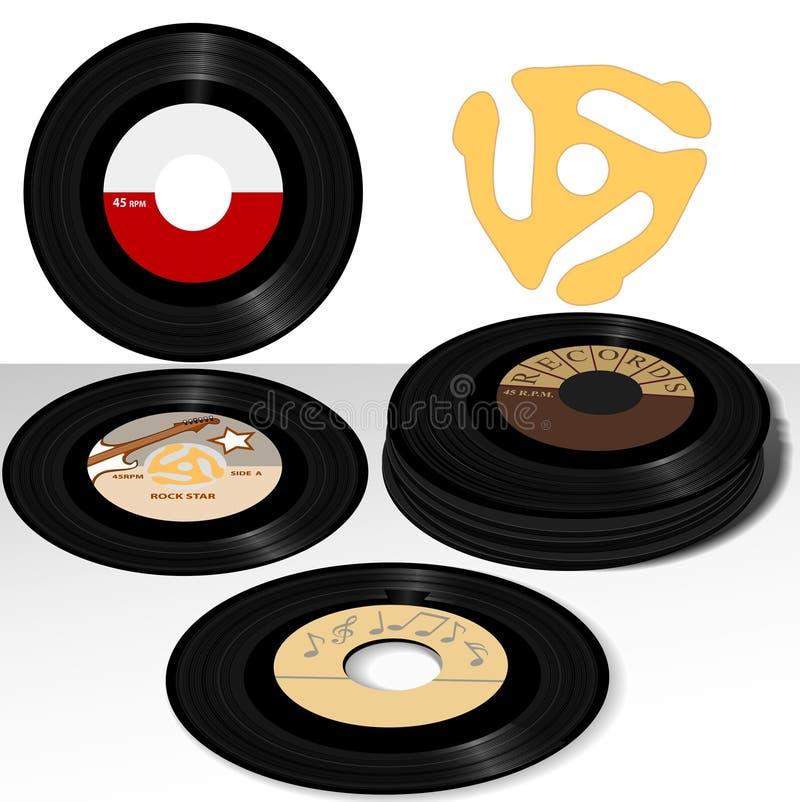45 registra música de las escrituras de la etiqueta stock de ilustración