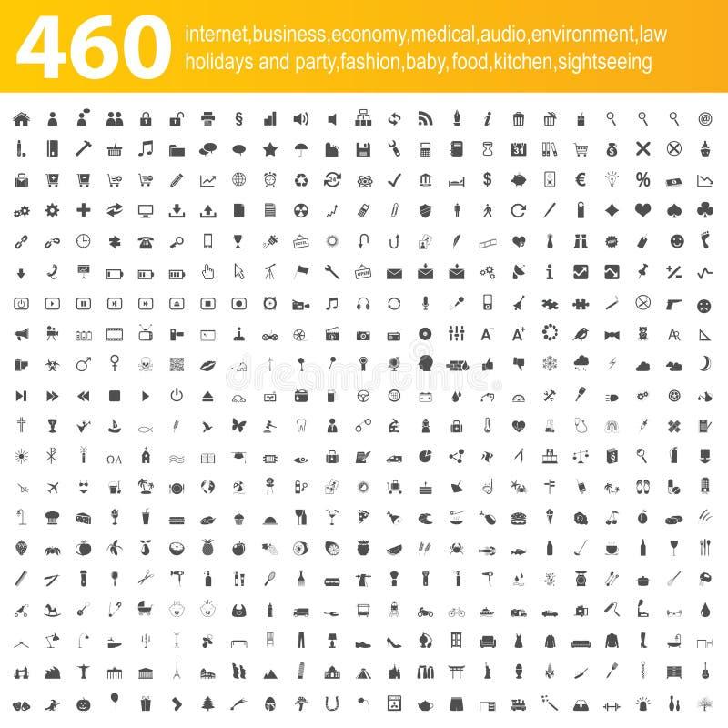 460个灰色图标 皇族释放例证