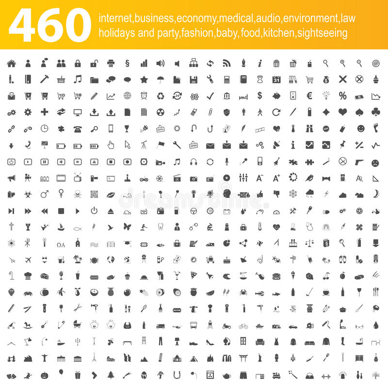 460 grey icons royalty free illustration