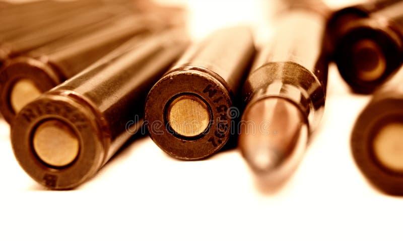47个ak弹药筒 免版税库存照片