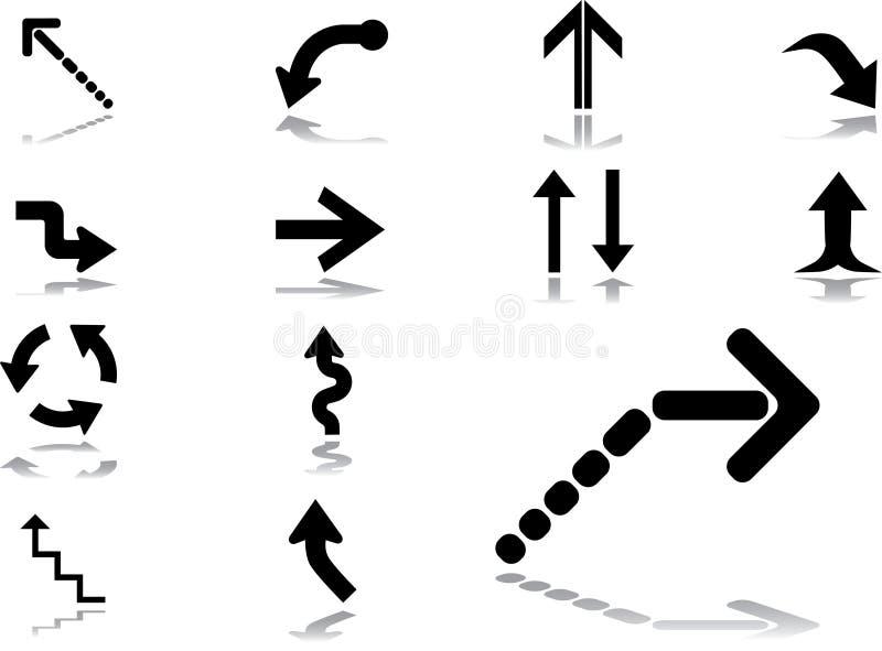 48 установленных икон стрелок иллюстрация вектора