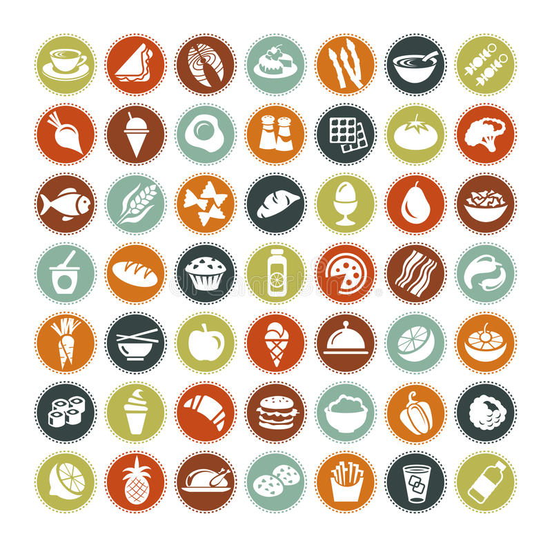 Free 49 Different Food Icons ALL NEW Stock Photography - 34051272