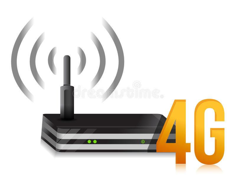 4G symbol with internet router stock illustration