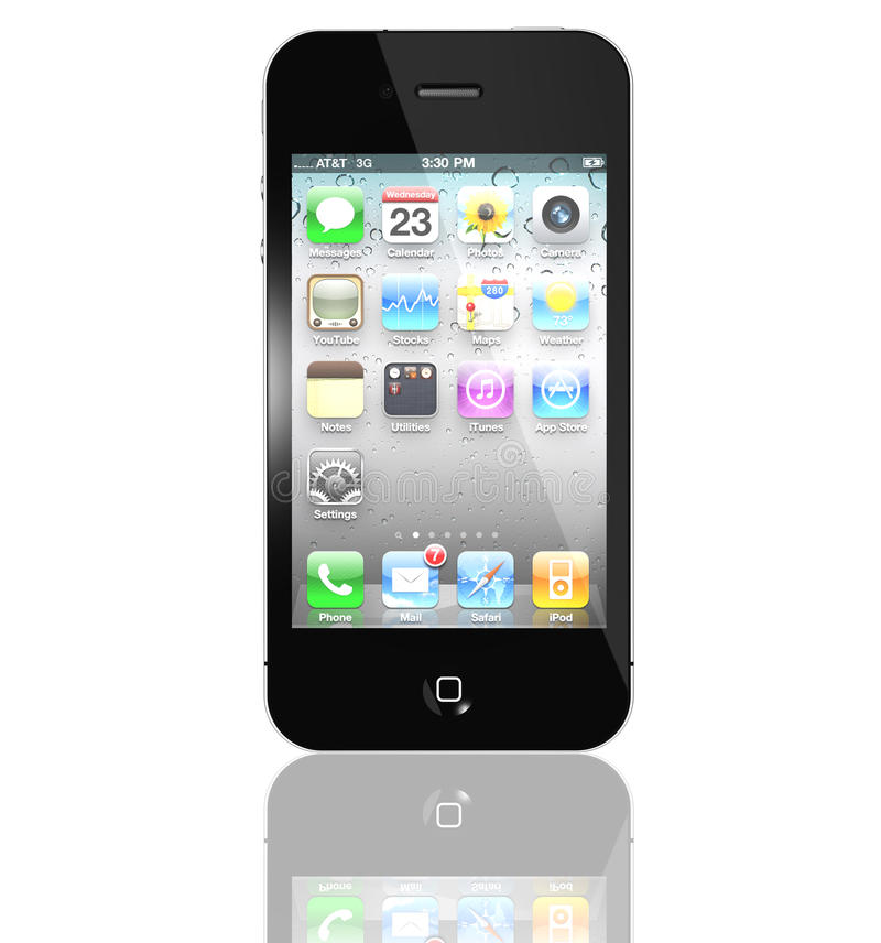 4s在新的iphone里面的苹果图标 皇族释放例证