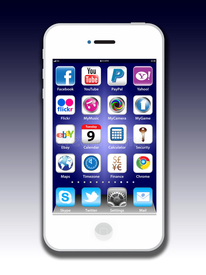 4s jabłczany apps iphone madia socjalny ilustracji