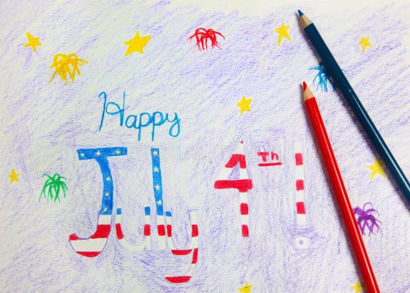 4th av den Juli teckningen och Crayons royaltyfri foto