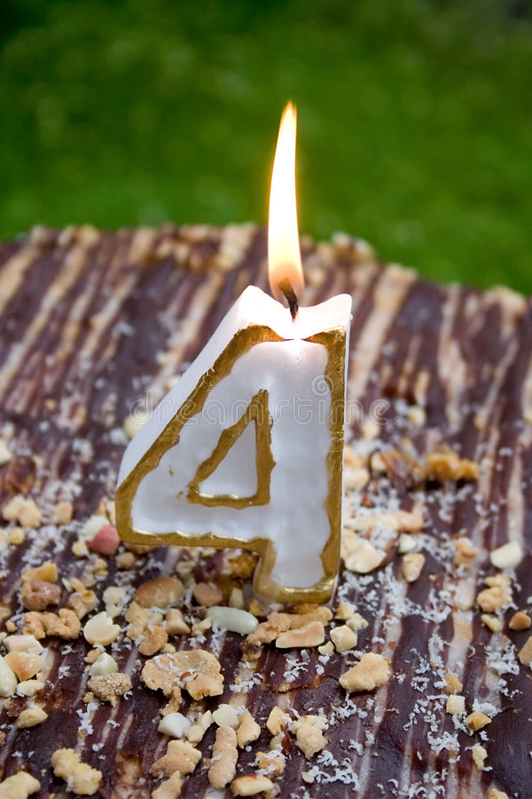 4th Birthday Candle stock image