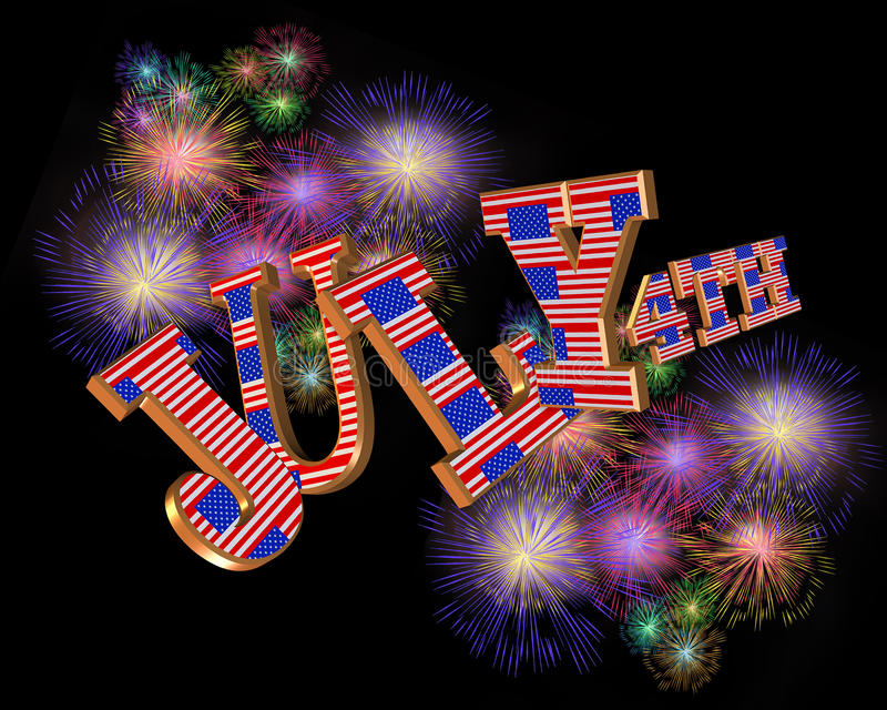 4th of July 3D text stock illustration