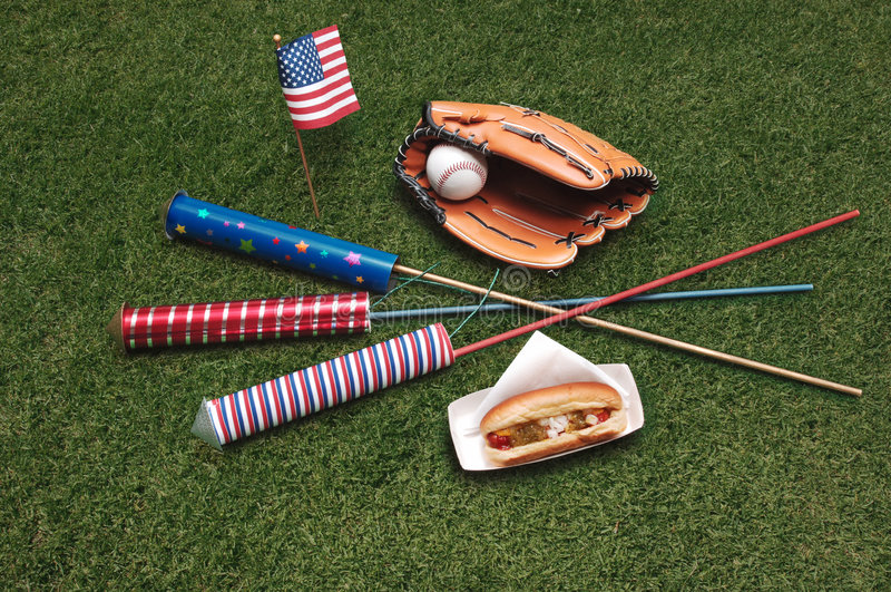 4th of July. Fourth of July on grass stock photo