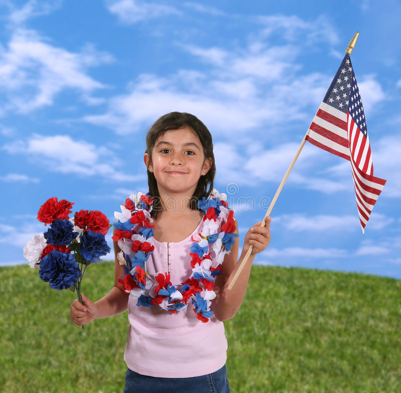 4th of July. Cute girl at the 4th of July parade royalty free stock photography