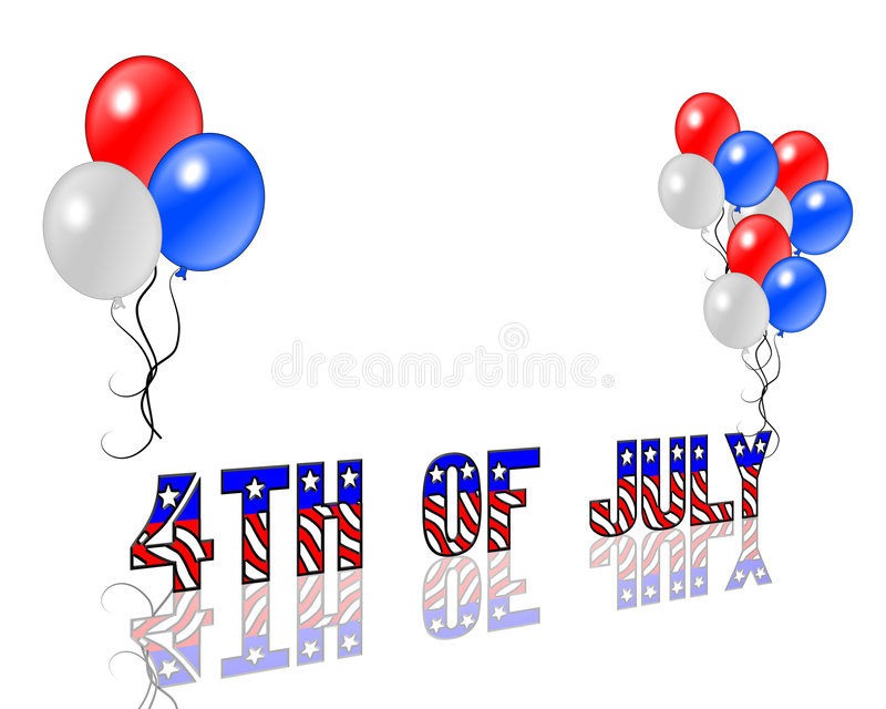 4th of July Background. Illustrated text and red white and blue design for Independence Day, July 4th royalty free illustration