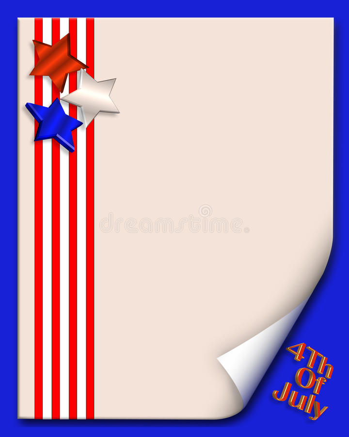 4th of July background or border. Illustration composition of stars and stripes in red, white and blue graphic design with page curl for 4th of July holiday card royalty free illustration