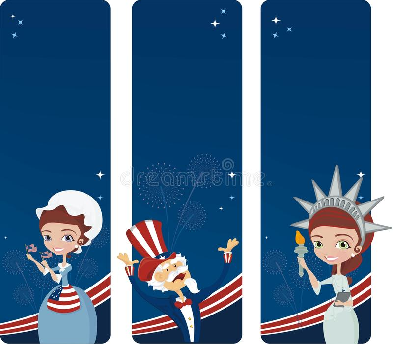 4th july celebration. Three banners for 4th of july celebration vector illustration