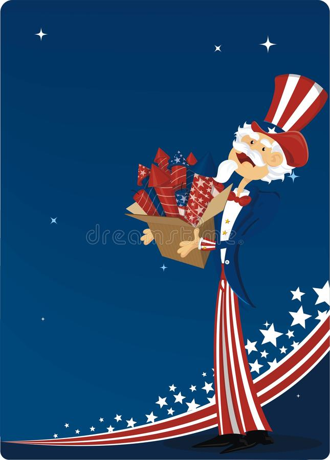 4th july celebration. 4th of july celebration with uncle sam and fireworks stock illustration