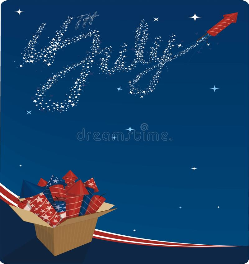 4th july celebration. 4th of july celebration with box of fireworks vector illustration