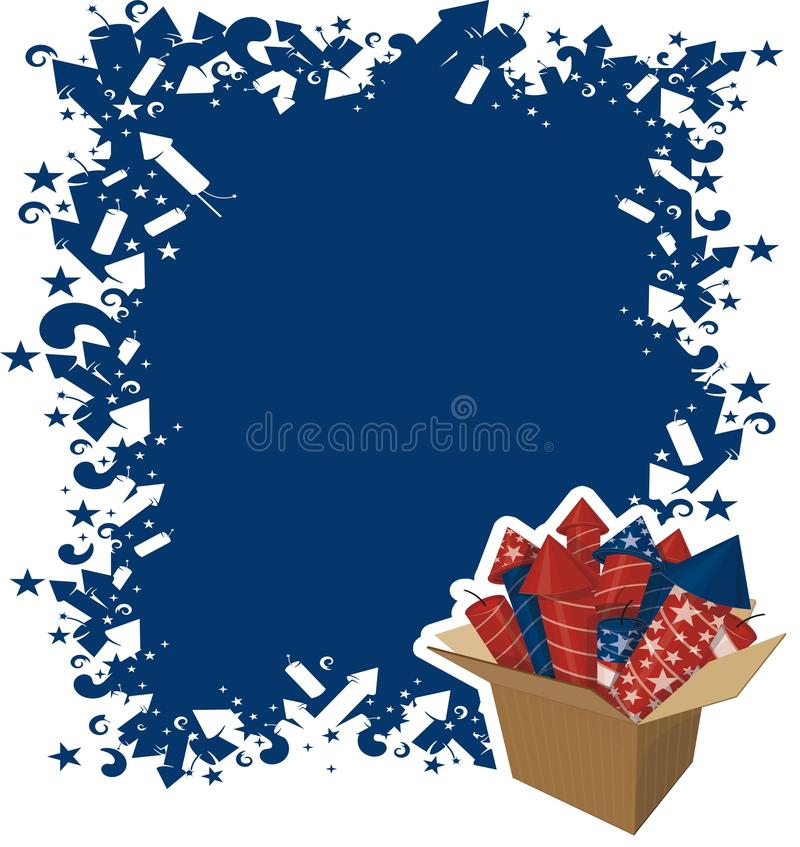 4th july celebration. 4th of july celebration with box of fireworks stock illustration