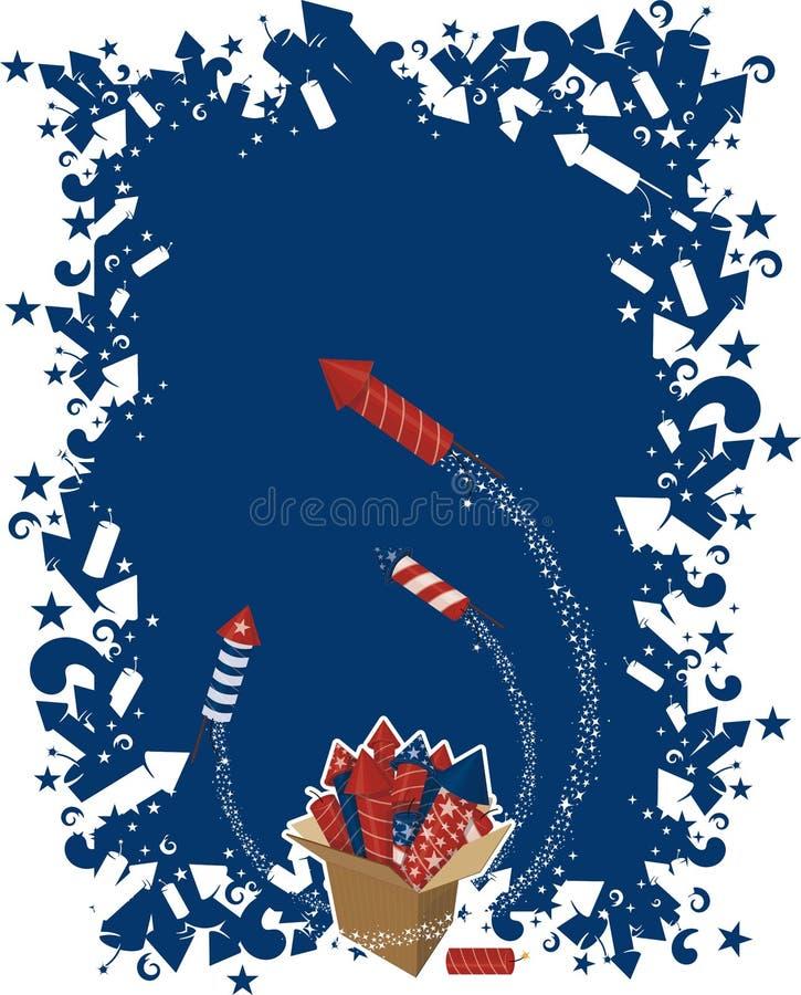 4th july celebration. 4th of july celebration with box of fireworks royalty free illustration
