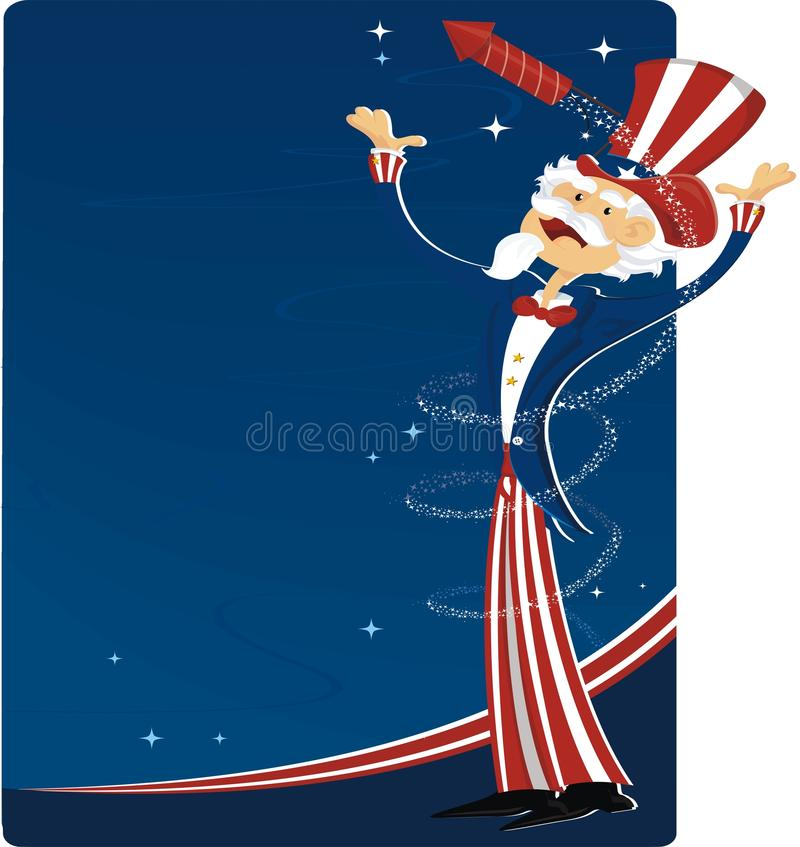 Download 4th July Celebration With Uncle Sam Stock Vector - Illustration of july, costume: 10641986