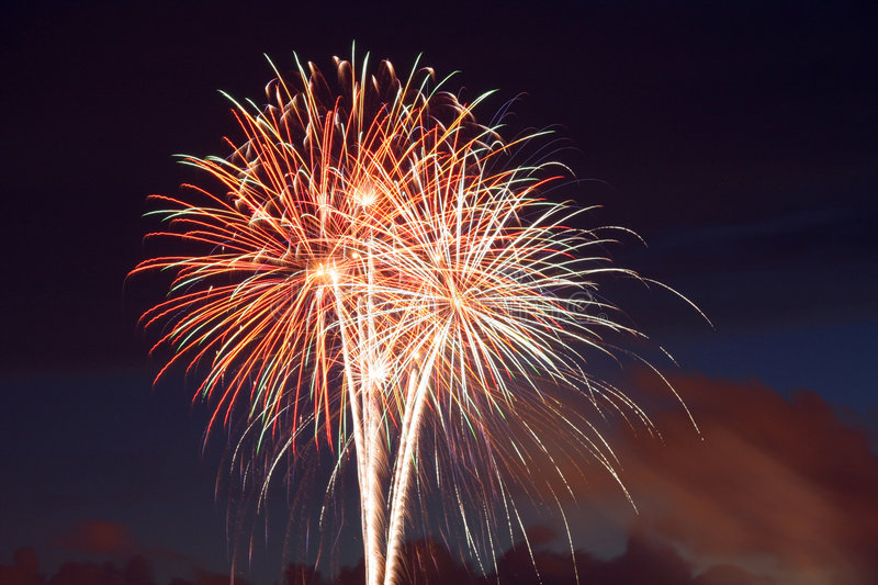 Fireworks exploding in sky royalty free stock image