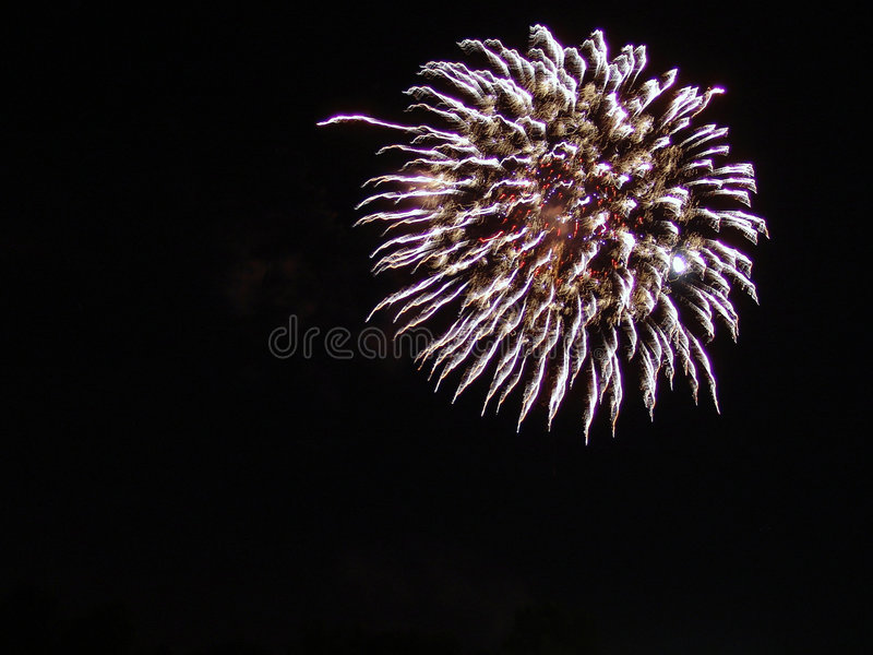 4th of July Fireworks Celebration in USA. Fireworks exploding over the sky in easthampton, massachusetts during a fouth of july, independence day celebration in royalty free stock photography