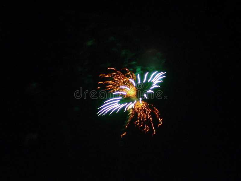 4th of July Fireworks Celebration in USA. Fireworks exploding over the sky in easthampton, massachusetts during a fouth of july, independence day celebration in royalty free stock photos
