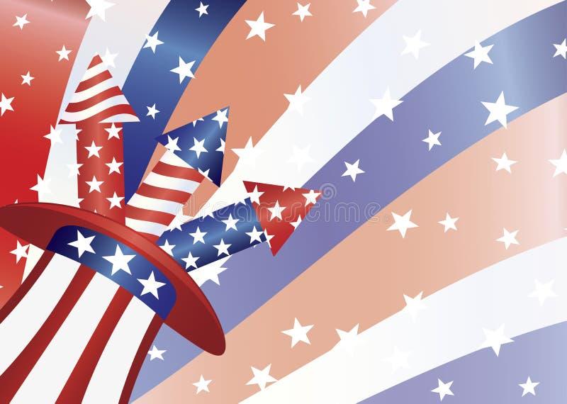 4th of July Fireworks in Hat Illustration. Fourth of July Fireworks in Stars and Stripes Hat with US Flag Background Illustration royalty free illustration