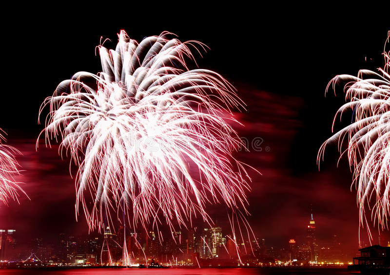 The 4th Of July Fireworks In NYC Stock Images
