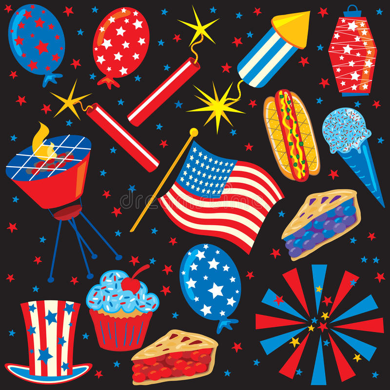 4th of July Icons and Elements. Isolated on black stock illustration