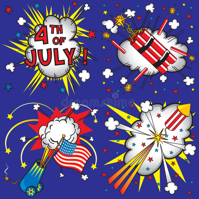 4th of July Icons and Explosions stock illustration