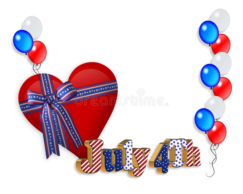 4th of July patriotic border. 4Th of July stars, stripes patriotic American borders for holiday greeting, invitation or stationery with 3D text , balloons and royalty free illustration