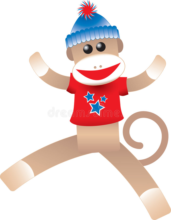 4th of July Sock Monkey. Cute illustration of a happy sock monkey wearing a red, white and blue t-shirt vector illustration