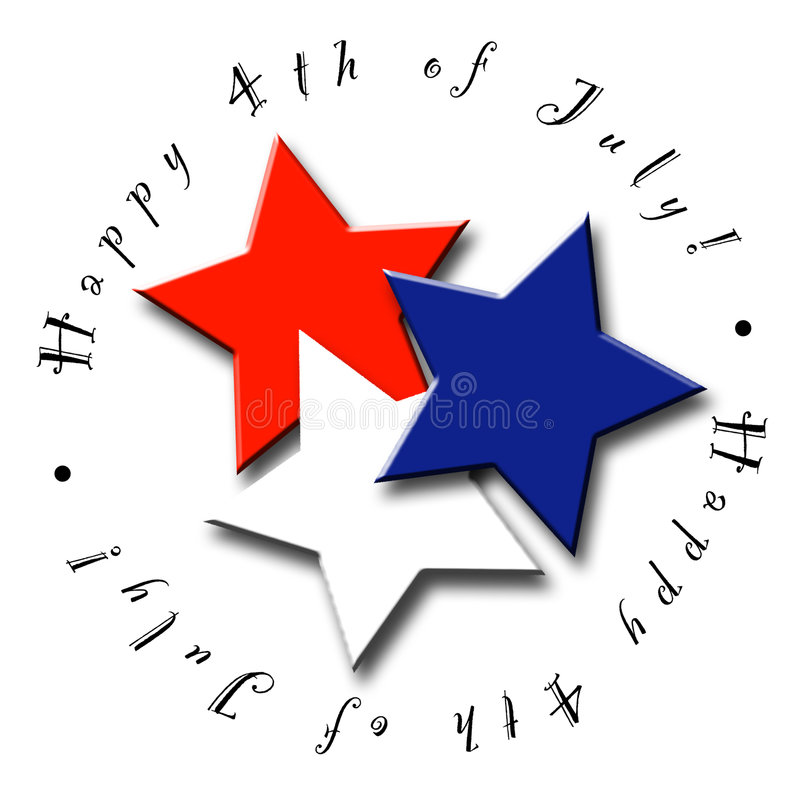 4th of July Stars. An illustrated icon for the 4th of July featuring red, white and blue stars vector illustration