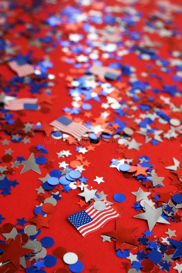 Free 4th Of July American Independence Day Background . Holiday Confetti Usa Flag Colors Decorations Royalty Free Stock Images - 182865829