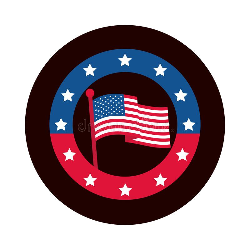 Free 4th Of July Independence Day, American Flag In Pole Stars Badge Block And Flat Style Icon Stock Image - 182527571