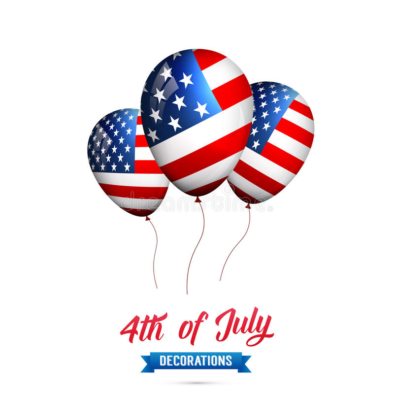 Free 4th Of July-USA Independence Day. Decoration Set Of USA Flag Balloons. Fourth Of July Vector Illustration. Stock Photo - 92971620