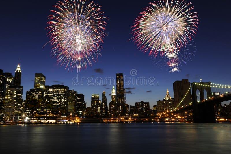 4th stadsfyrverkerier juli New York royaltyfri foto