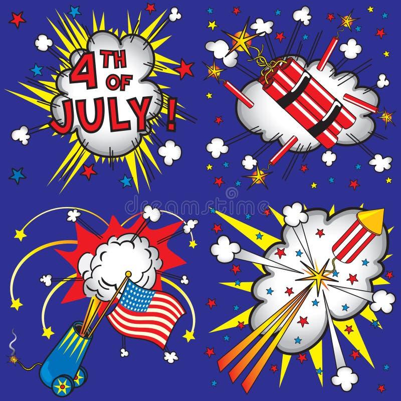 4to de los iconos y de las explosiones de julio stock de ilustración