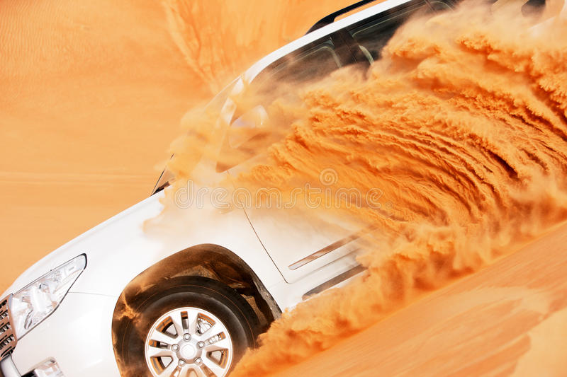 4x4 dune bashing is a popular sport of the desert. 4 by 4 dune bashing is a popular sport of the Arabian desert stock image