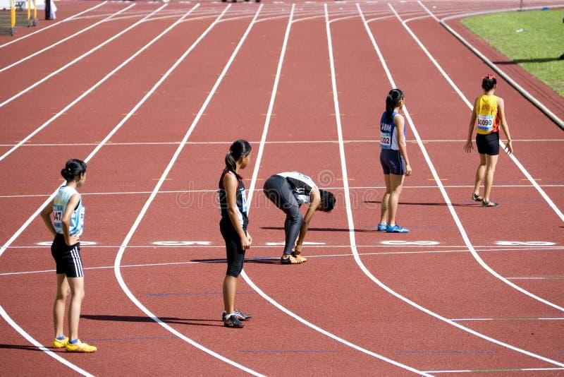 4x400 van vrouwen meet Race stock afbeeldingen