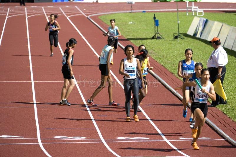 4x400 van vrouwen meet Race royalty-vrije stock foto's