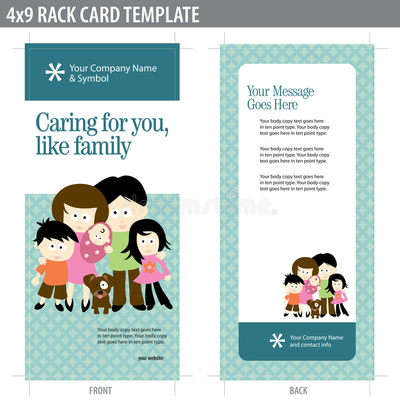 4x9 Rack Card Brochure with family vector illustration