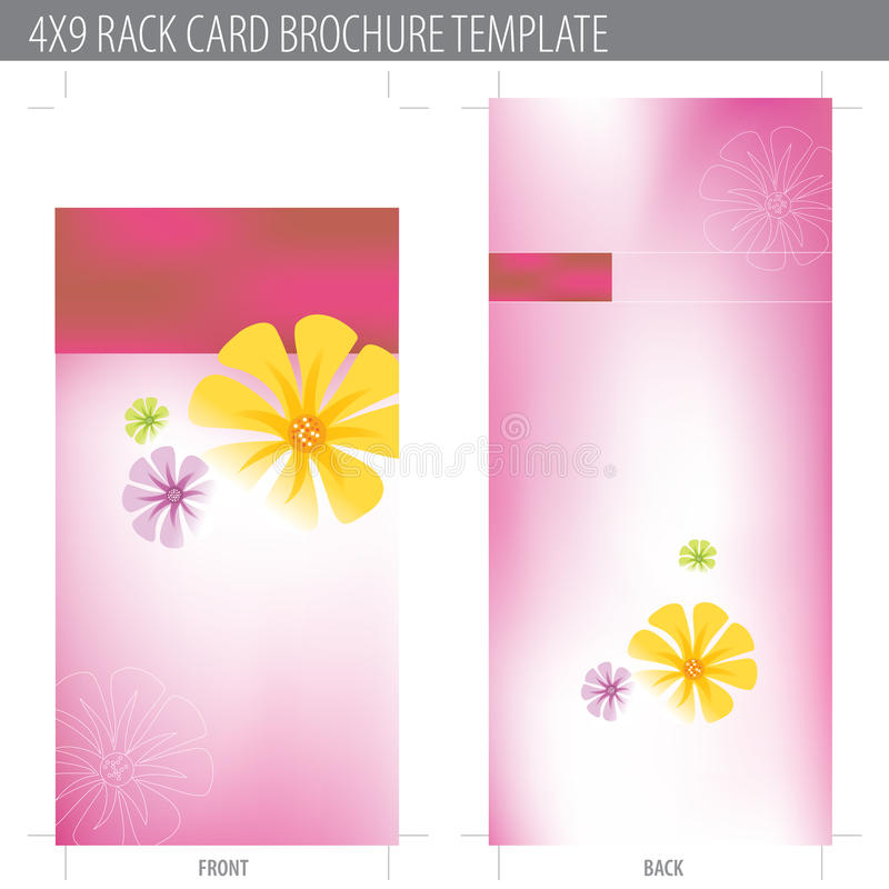 4x9 Rack Card Brochure Template. (includes cropmarks, bleeds, and keyline royalty free illustration