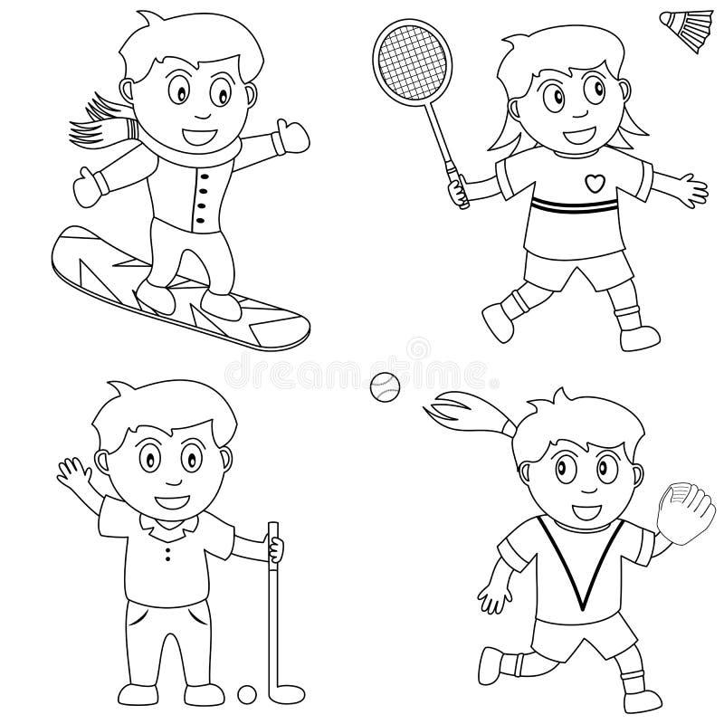 5个上色孩子体育运动 皇族释放例证