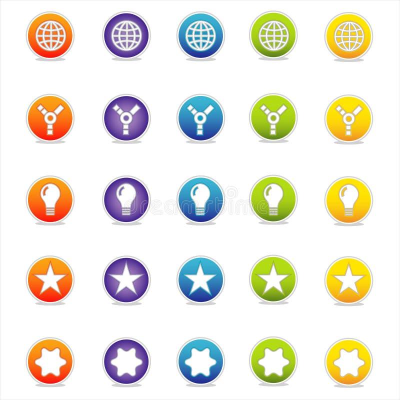 5个五颜六色的图标导航万维网 库存例证