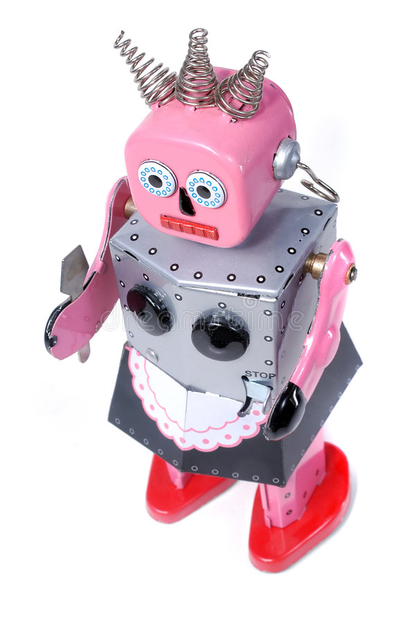 5个佣人机器人玩具葡萄酒 免版税图库摄影