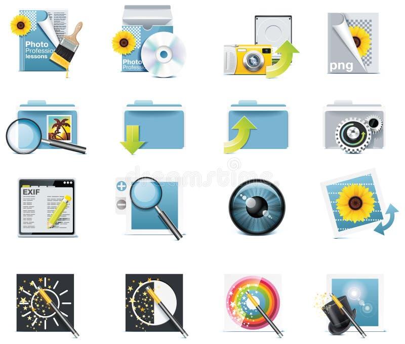 5个图标分开摄影向量 向量例证