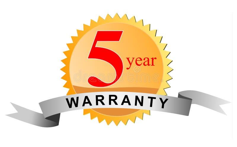 5个密封保修单年 向量例证