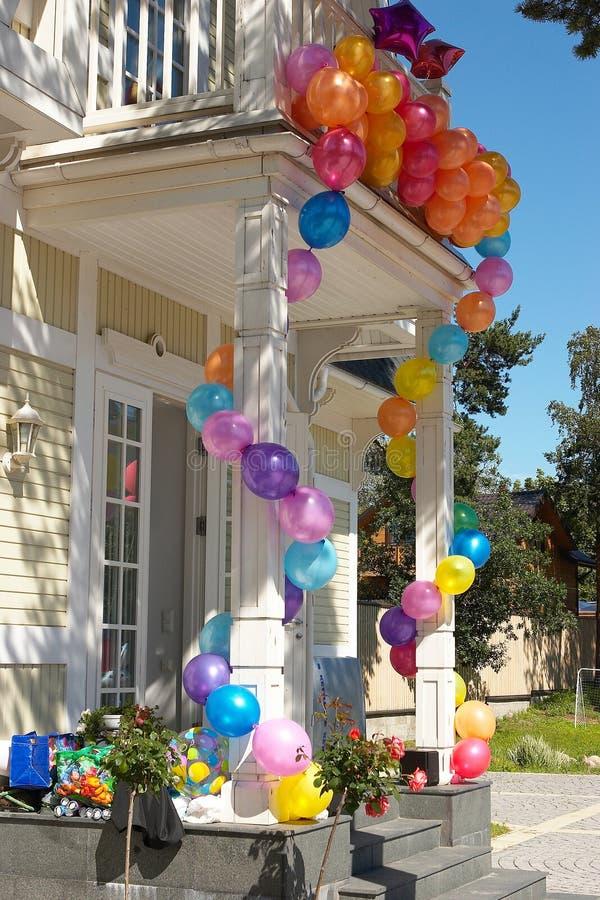 5个气球房子 库存照片